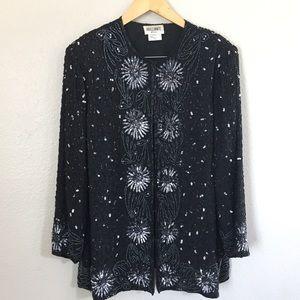 brilliante by ja Black beaded blazer Pluse Size 3X